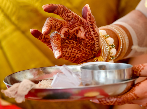 Hands painted with henna ink in Indian wedding ritual