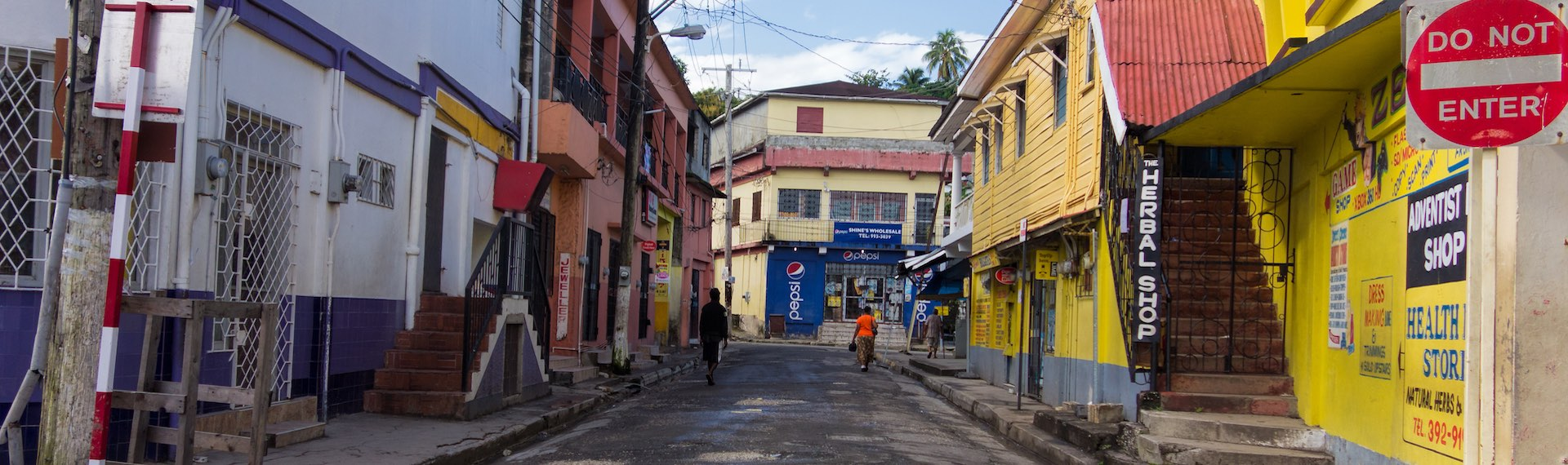 Typical Jamaican street with its diversity of colors.