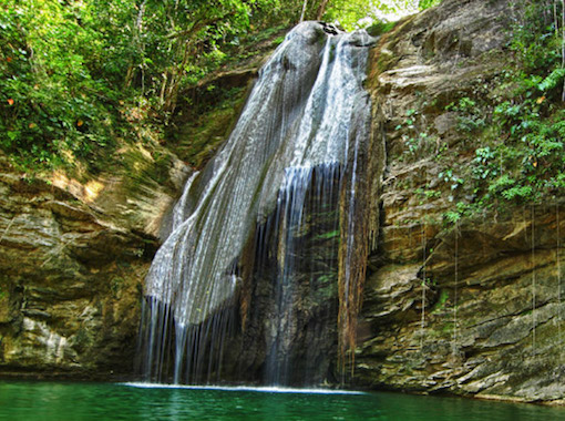 This is a Waterfall  and natural pond between 8 Rivers and Port Antonio.