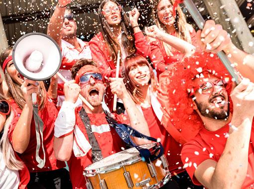 Fans Celebrating the International Football Festival